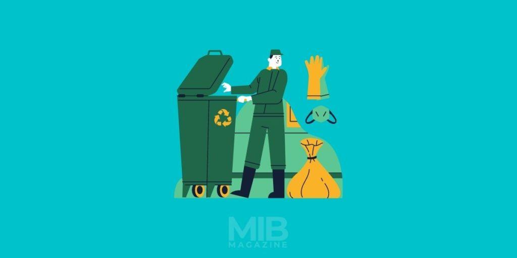 a man disposing medical waste